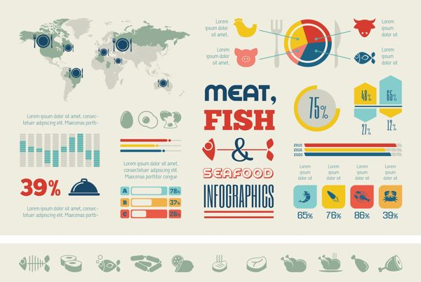 Food Infographics Templates. Flat Design. by Andrew & Rita Kravchuk, via Behance
