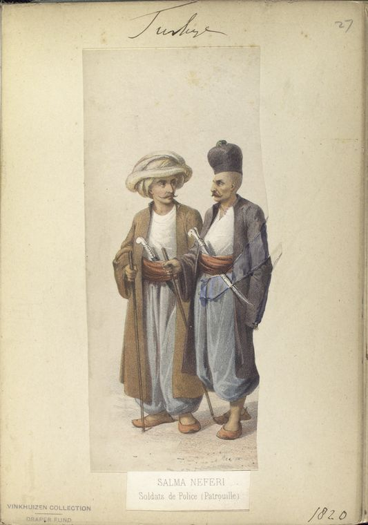 Police Soldiers on patrol. The Vinkhuijzen collection of military uniforms / Turkey, 1818. See McLean's Turkish Army of 1810-1817.