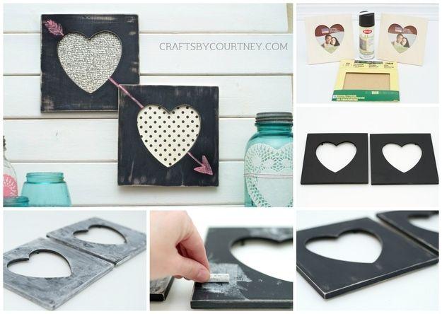 Handmade Chalkboard Heart Frames....17 Last Minute Handmade Valentine Gifts for Him. Surprise!! #diyHandmadeValentineGiftsforHim