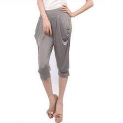 Pockets Drop-Crotch Rayon Solid Color  Harem Cropped Pants For Women $5