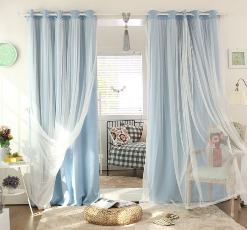 BLOCKOUT EYELET CURTAINS Double Layer Bridal Lace GIRLS Curtain AQUA Sky Blue