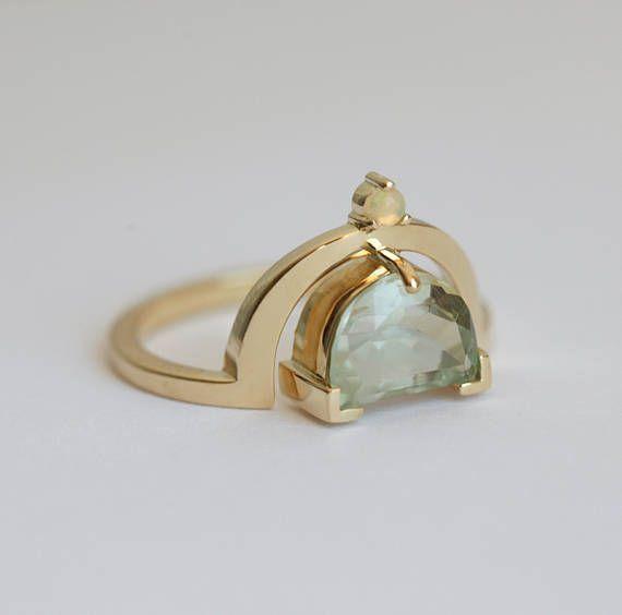 Luna anillo anillo de amatista verde luz ópalo y amatista