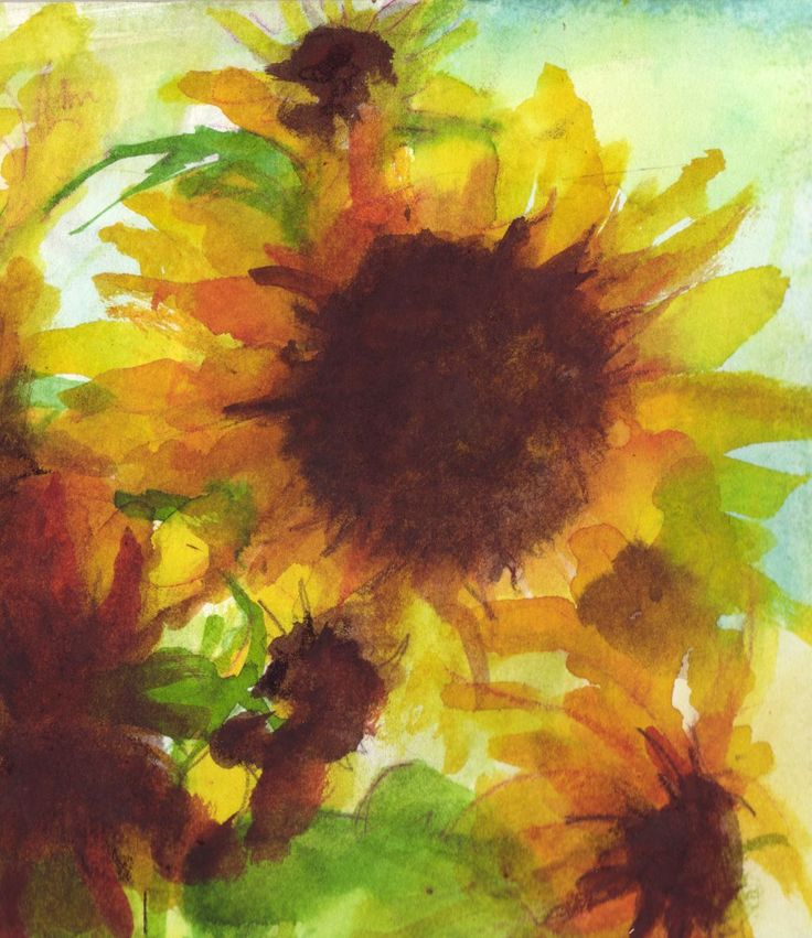 SUnflower watercolour, on watercolour paper. SOLD.