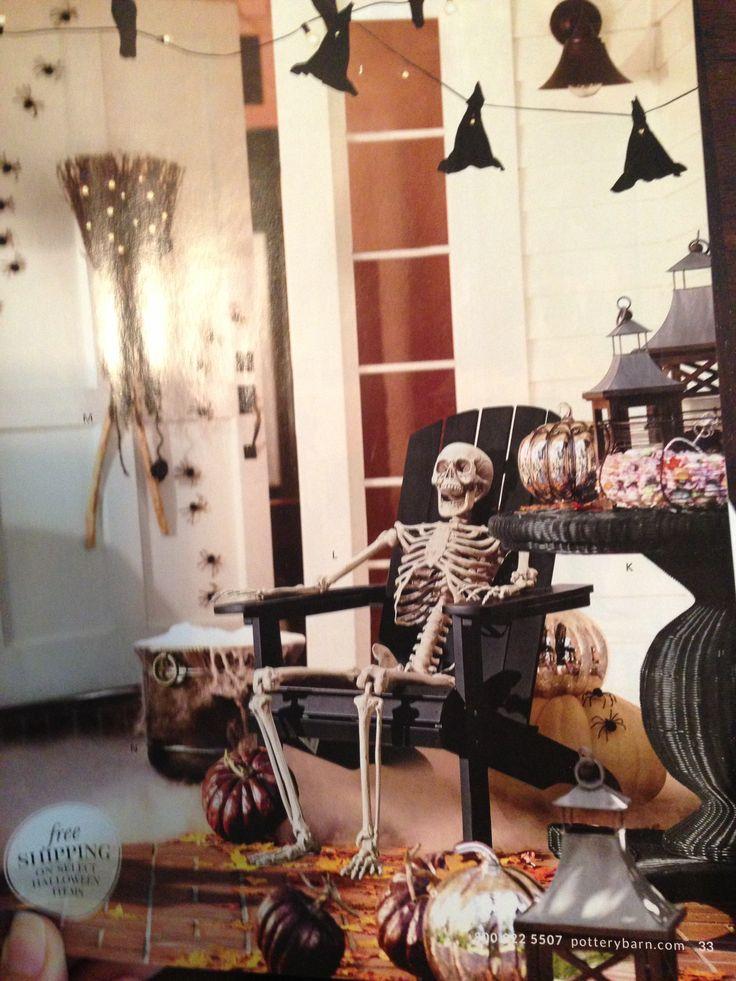 Halloween Pottery Barn // skeleton in an adirondack chair // Pottery Barn