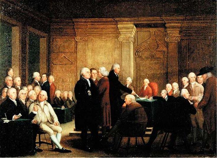 Congresso de votação da independência. Robert Edge Pine c.1784-1801. Com pensamentos e escritos sobre revolução atravessando o pacífico, as Treze Colônias - hoje conhecidas como Estados Unidos da América- travavam lutas contra sua metrópole, Inglaterra. O motivo de tantos conflitos dava-se pelos altos impostos e poucos direitos, que restringiam a autonomia dos colonos. Com a ajuda do exército francês, em 1776, é oficializada, pela Declaração de Independência Americana, a independência.