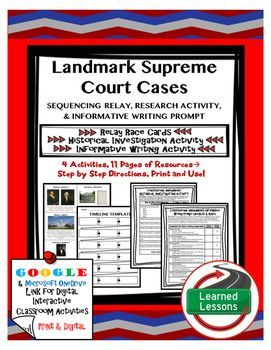 Civics Landmark Supreme Court Cases Sequencing Relay Cards, Research, Informative Writing Activities (Paper & Google Drive)This Civics Landmark Supreme Court Cases Sequencing Relay Cards, Research, Informative Writing Activities (Paper & Google Drive) is perfect for Common Core planning in your Civics classroom!