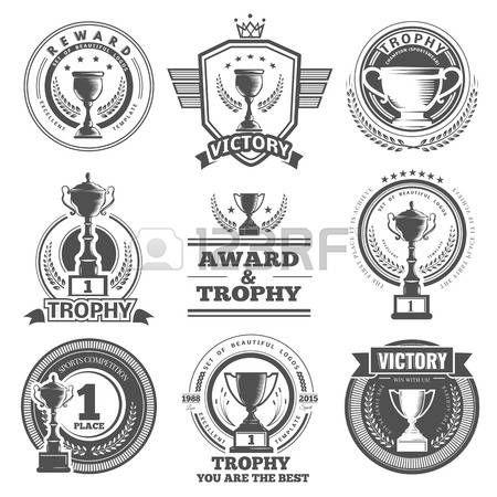 kampioen: Set van vector winnaar, badges, emblemen en design elementen. Zwarte pictogrammen Victory trofeeën en awards