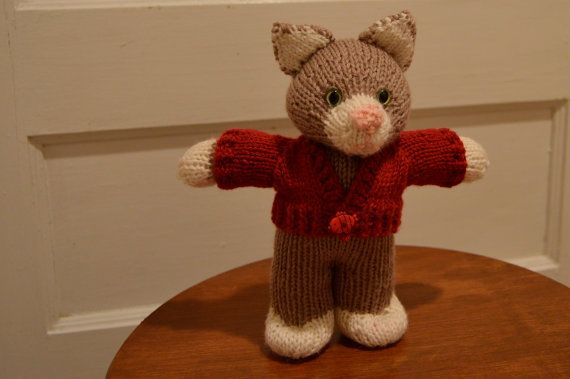 Knitted toy knitted toy cat knitted animal by EclecticWandering