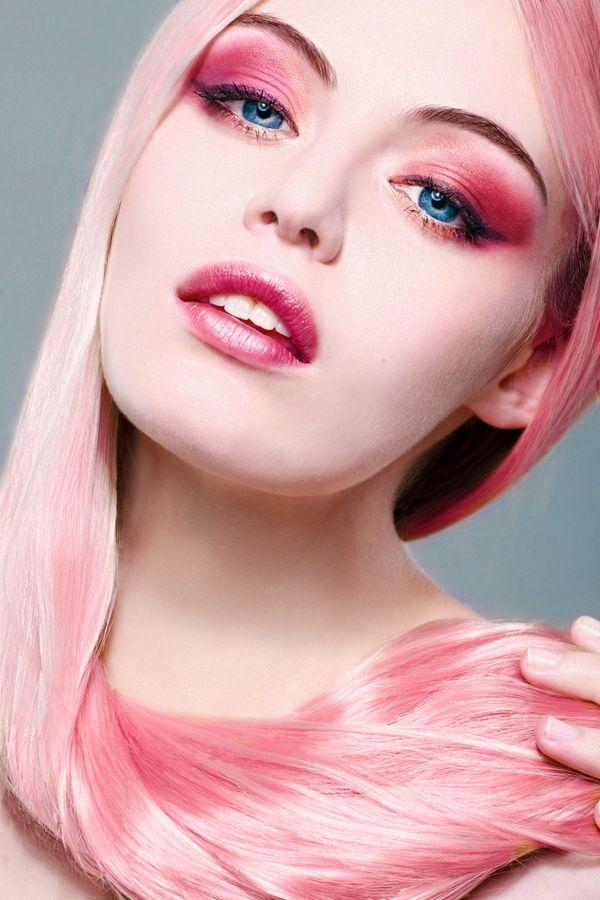 Sakura-hued #wedding makeup inspiration.. Pink hair looks great for an offbeat bride!Pink Wedding Makeup,  pink wedding makeup looks,  pink wedding themes,  best wedding accessories,