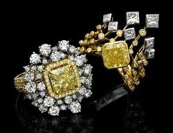 Fancy coloured diamond rings by KARP Jewellery Mfg HK Ltd