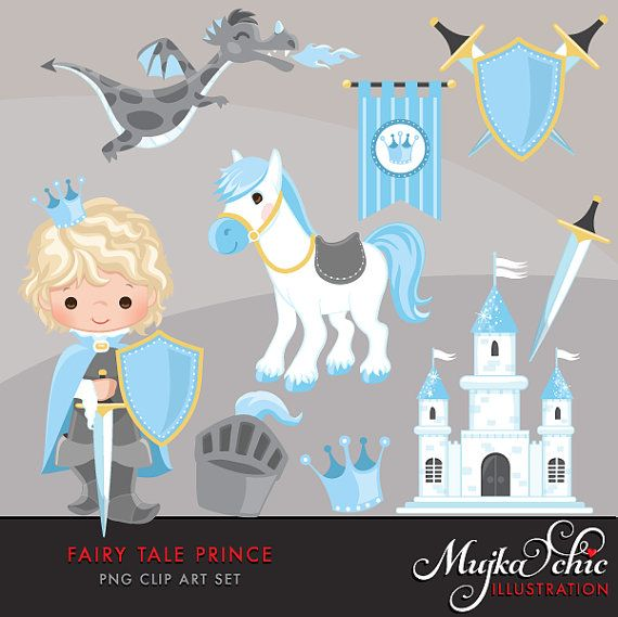 Fairy Tale Prince Clipart. Fairy Tale characters, dragon, crown, sword, prince castle, knights, armor, shield horse graphics. Blue gray