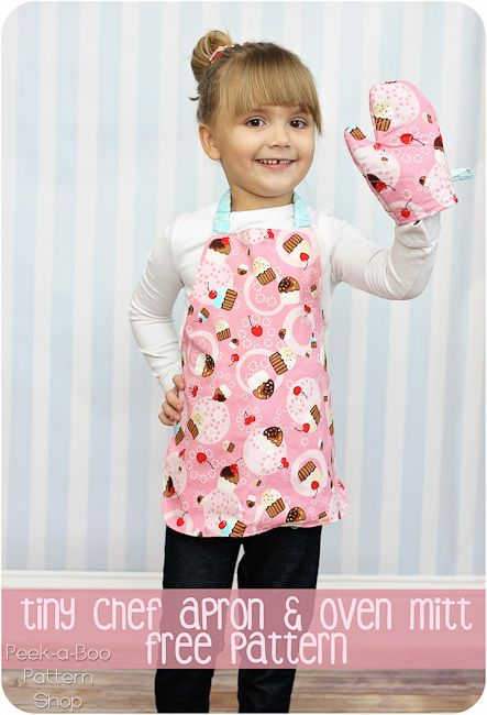 Kids oven mitt and apron sewing pattern - free