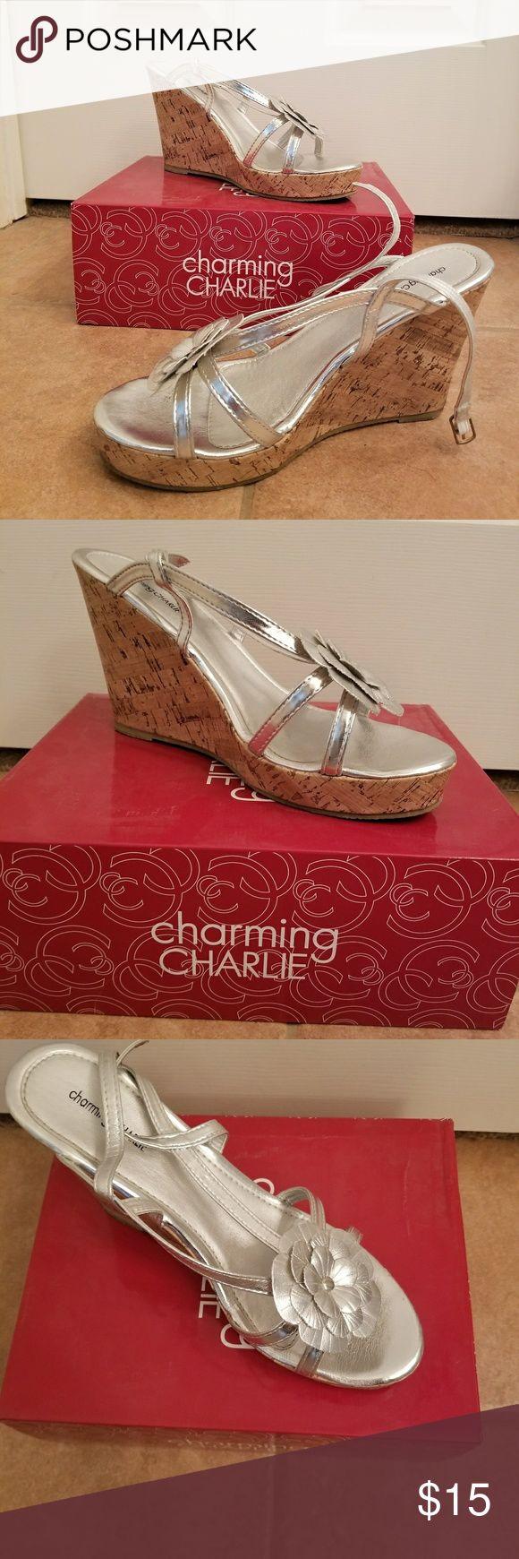 Charming Charlie Nancy silver wedge sandal Silver wedge sandals Charming Charlie Shoes Wedges