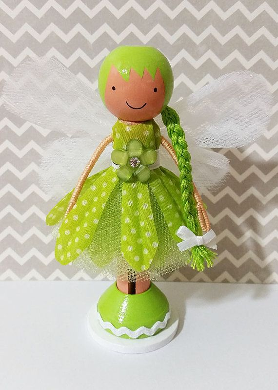OOAK Green Daisy Fairy Miniature Wooden by SugarlandDollHouse
