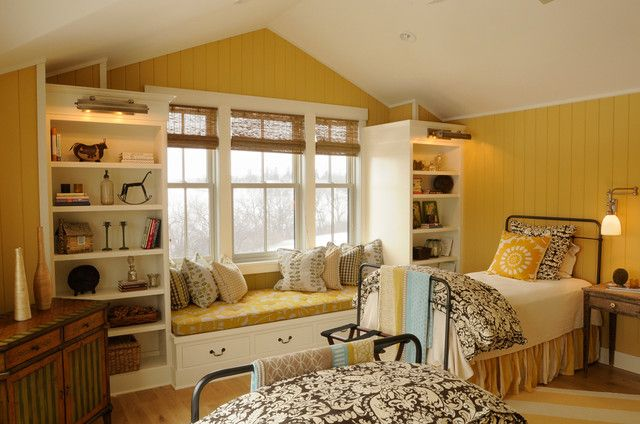 bright and cheerful bedroom for two