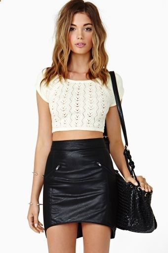 Dark Era Skirt - Crop top (or white lace top that isnt cropped) and leather skirt