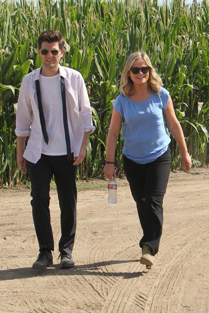 Pin for Later: Parks and Recreation's Ben and Leslie Are Back! . . . in the Future  Adam Scott is looking casual as Ben, alongside Amy Poehler as Leslie.