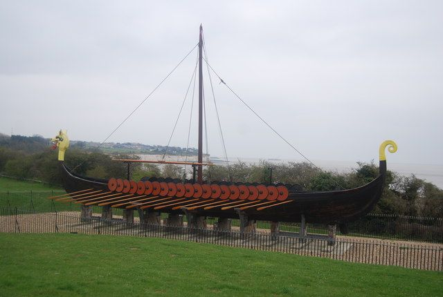 Viking Boat  On permanent display on the cliff top at Pegwell Bay is a replica of a Viking ship which sailed from Denmark to Thanet in 1949 to celebrate the 1500th anniversary of the invasion of Britain, the traditional landing of Hengist and Horsa and the betrothal of Hengist's daughter, Rowena, to King Vortigen of Kent.  Out of 53 crewmen only the navigator, Peter Jensen, was a professional seaman. Viking conditions were faithfully observed and the only instrument carried was a sextant.