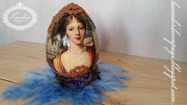 "Lavenderia - decoupage i inne: Jajo ""Dama na tle pałacu"""
