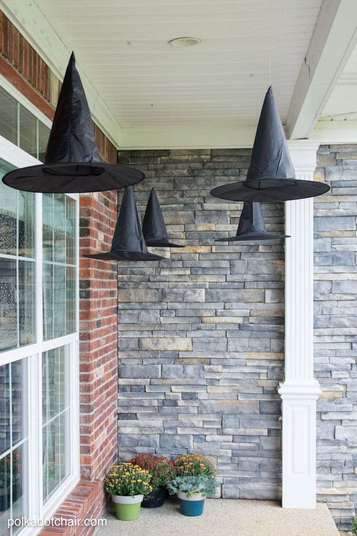 Diy Floating Witch Hat Luminaries Polka Dot Chair Halloween Porch Halloween House Halloween Outside