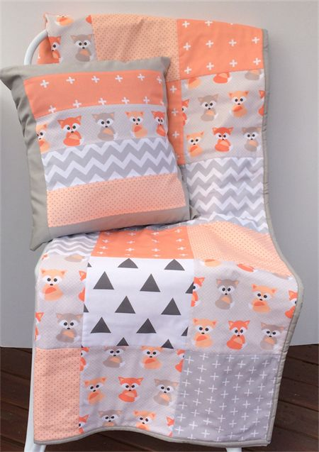 Patchwork Cot Quilt w/ Peach Baby Foxes and Gray patterns