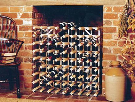 Winerack in fireplace