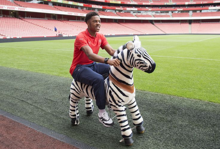 Gunner vs Players! First up are Hector Bellerin and Chuba Akpom. Both have been challenged to race Gunner on a zebra! Watch the video, goo.gl/zFT0HL