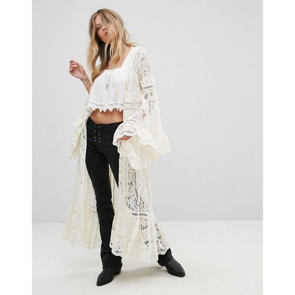 Free People Maxi Lace Kimono (260 AUD) ❤ liked on Polyvore featuring intimates, robes, white, white jersey, print kimono, white lace kimono, white lace robe and white robe