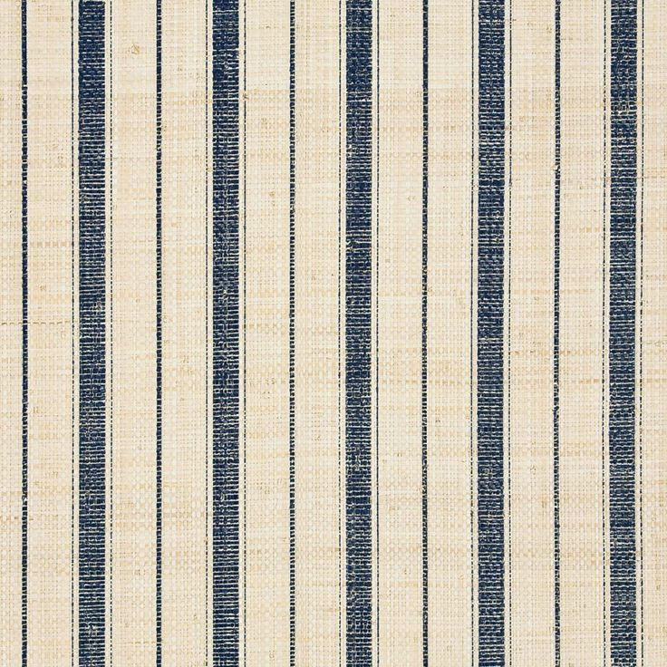 Navy Ticking Stripe 5610 - blue and ivory grasscloth wallpaper - Phillip Jeffries