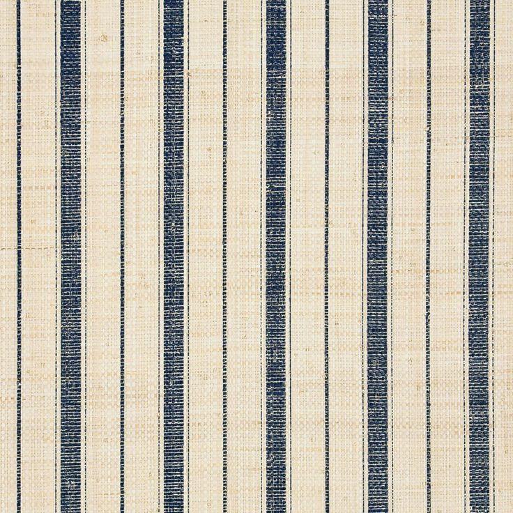 Navy Ticking Stripe 5610 - blue and ivory grasscloth wallpaper - Phillip Jeffries