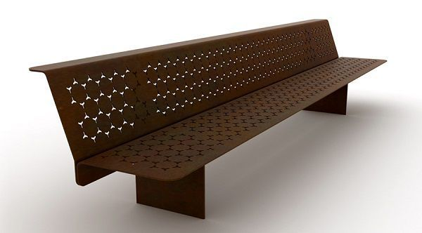 Public bench / contemporary / sheet steel / with backrest ELES PANCHINA THE ITALIAN LAB
