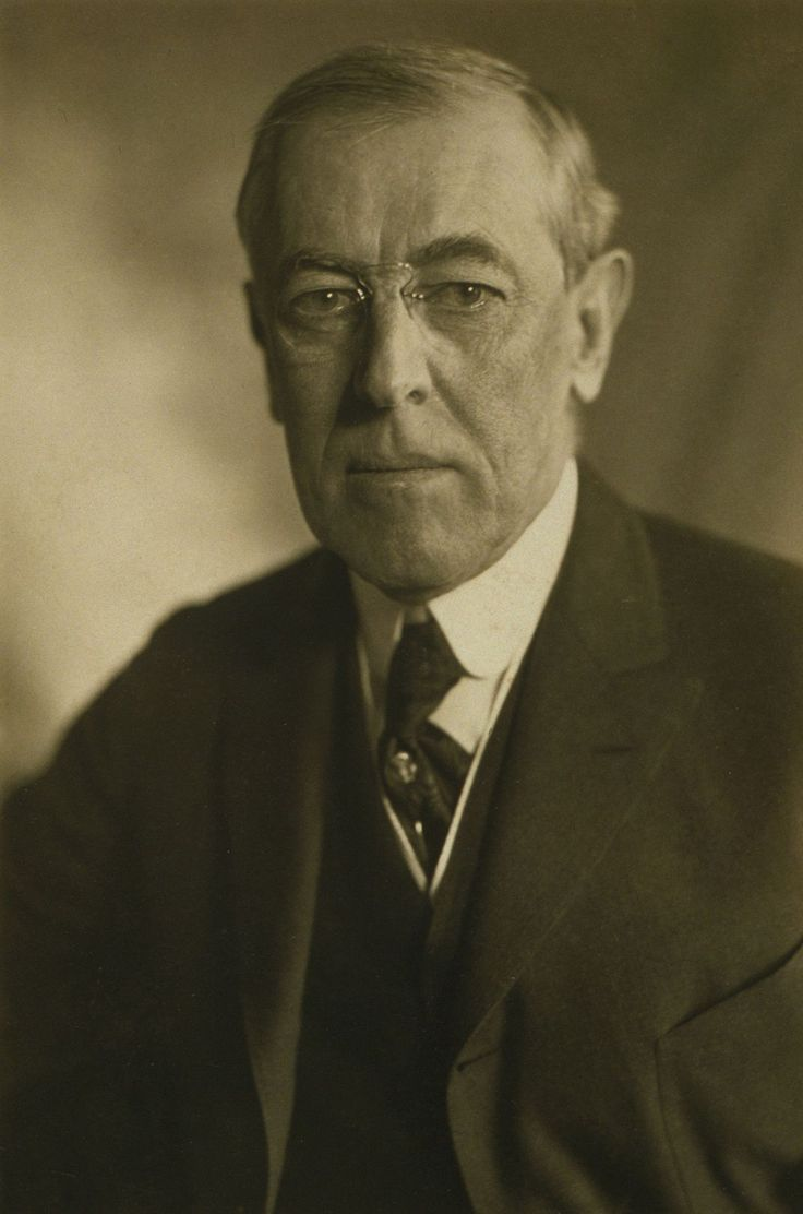 Woodrow Wilson (1856-1924):  28th President of the US (1913-1921), President of Princeton University, Governor of New Jersey, first Southerner president since Zachary Taylor in 1848,  led the US during WWI, established Wilsonianism, major leader at the Paris Peace Conference in 1919, championed the League of Nations. He suffered debilitating strokes in Sept 1919, his wife and staff members handled most of his presidential duties.