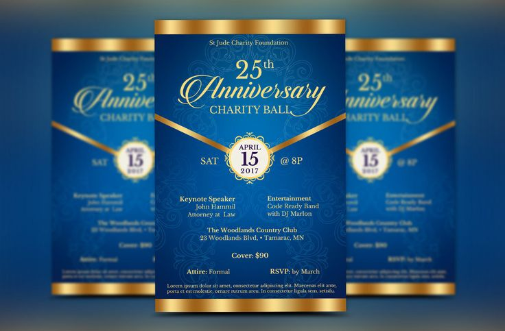 """Blue Anniversary Gala Flyer Publisher Template is for any anniversary event that needs an elegant theme. The gala invitation is created with a deep blue background and highlighted with gold. In this package you'll find 1 Publisher file.  This template is a Microsoft Publisher template designed by Godserv to be edited with Microsoft Publisher 7 and higher. Once you have downloaded this template, use Microsoft Publisher to make edits.  WHAT'S INCLUDED - 1– 5.5""""x8.5"""" Blue Anniversary Gala F..."""