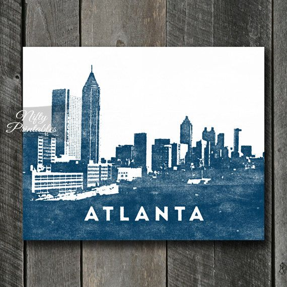 Atlanta Print  INSTANT DOWNLOAD Atlanta Skyline by NiftyPrintables