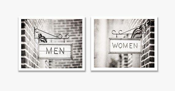 Bathroom Photography Set, Women Men Sign Photography, Bathroom Black and White Photos, Grey Bath Wall Art, Gray Bathroom Decor, Bathroom Art door CarolynCochrane op Etsy https://www.etsy.com/nl/listing/236230812/bathroom-photography-set-women-men-sign