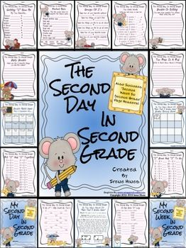 "BEST SELLER! Second Day In Second Grade Unit: A Back-To-School Packet For 2nd Grade. NOW EXPANDED TO 40 PAGES TO INCLUDE ""SECOND WEEK IN SECOND GRADE"" PAGE HEADERS AND STUDENT COVERS! $"