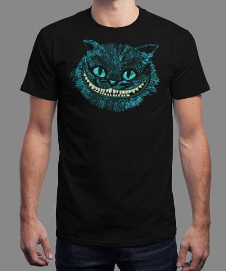 """""""Cheshire Head"""" is today's £8/€10/$12 tee for 24 hours only on www.Qwertee.com Pin this for a chance to win a FREE TEE this weekend. Follow us on pinterest.com/qwertee for a second! Thanks:) (This promotion is in no way sponsored endorsed or administered by or associated with Facebook.)"""