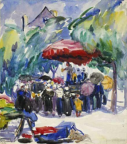 Market Scene in Brittany, 1911 - aquarelle et fusain sur papier - Emily Carr