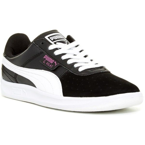 PUMA G Vilas Basic Sport Sneaker ($36) ❤ liked on Polyvore featuring shoes, sneakers, white, puma footwear, round toe sneakers, puma trainers, sports shoes and sports sneakers