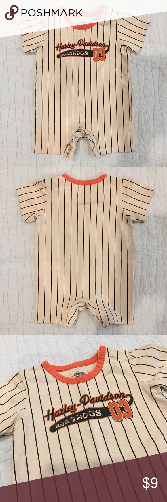 🖤 Harley-Davidson Baby Romper - Sz 18 Months Put your biker baby in this adorable romper!! Antique white with black stripes and orange neckline. Distressed logo on chest. Button closure at crotch. No signs of wear, excellent condition! ♥️  ✨Materials 100% Cotton  🌟 Size 18 Months  💰 Bundle 2 or more items and save!!  📸 Follow me on Instagram @cubbycreekboutique Harley-Davidson One Pieces