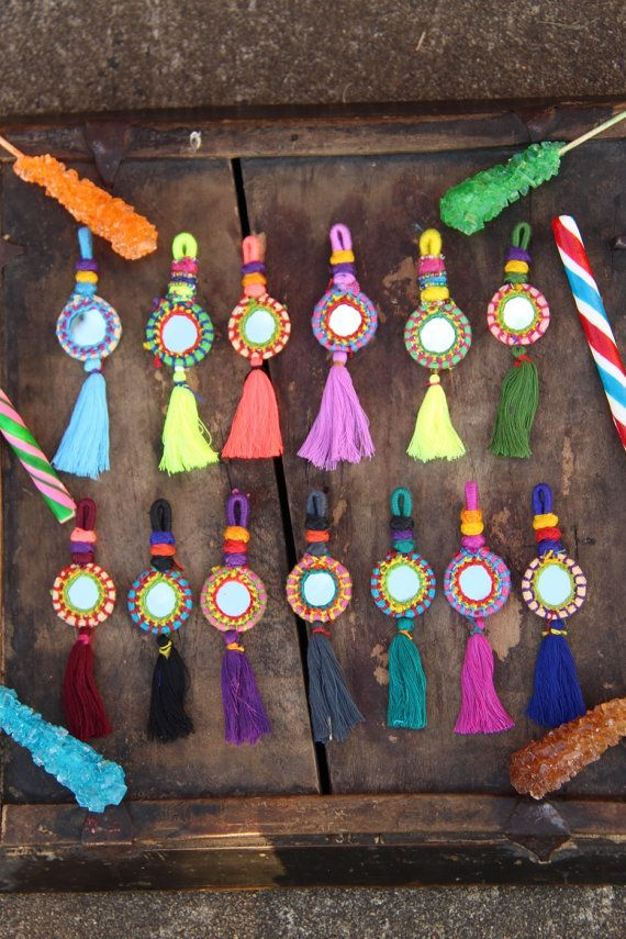 Shorty Tassel Mirror Charms, Swag, Decoration, Keychain, Jewelry Supply, Boho Gypsy Fashion Design, Purse Charm, Stocking Stuffer, 1 Piece