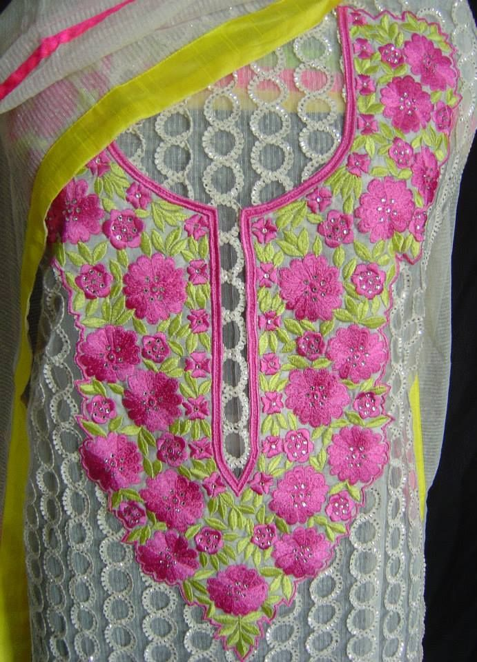 Intricate embroidery on net suit. For orders and inquiries, please mail us at naari@aninditacreations.com.  Like our page www.facebook.com/naari.aninditacreations
