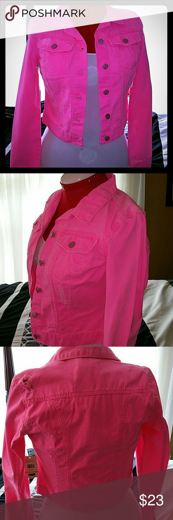 Neon Pink Distressed Jean Jacket Adorable distressed neon Pink Jean jacket.  Brand new with tags.  Never worn.  Junior Small but foods like a lady's small. The model in the photo is a women's medium-large. Brand is L.E.I. (Life Energy Intelligence). L.E.I. Jackets & Coats Jean Jackets