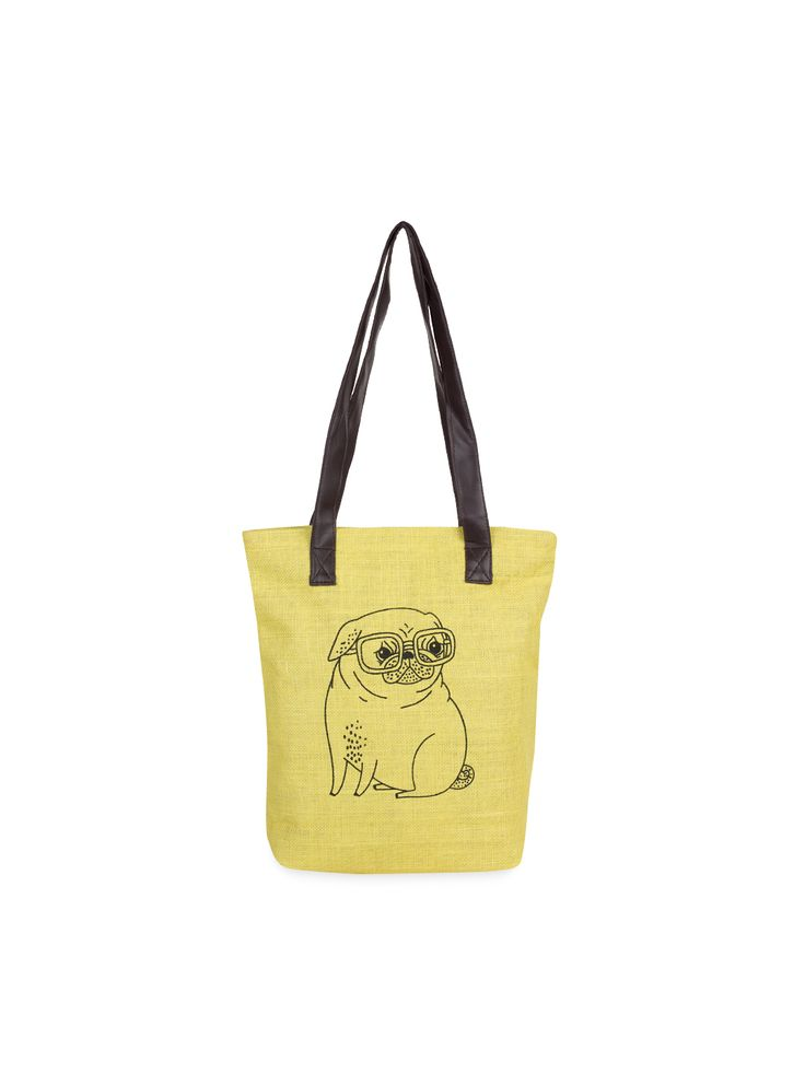Cute pug in a summery yellow.