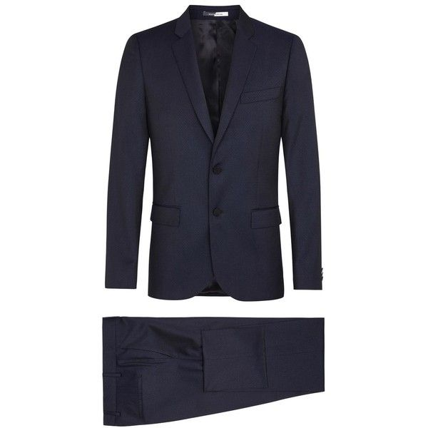 Ps By Paul Smith Navy pin-dot wool suit (€645) ❤ liked on Polyvore featuring men's fashion, men's clothing, men's suits, mens navy suit, old navy mens clothing, mens wool suits, mens navy blue suit and mens 3 button suits