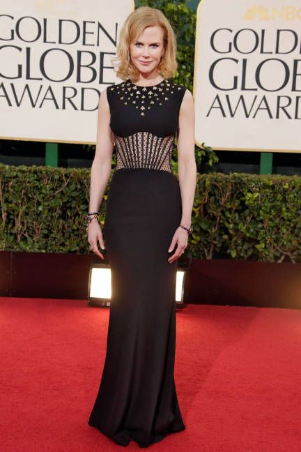 Nicole Kidman - Alexander McQueen black crepe gown with gold embroidery.