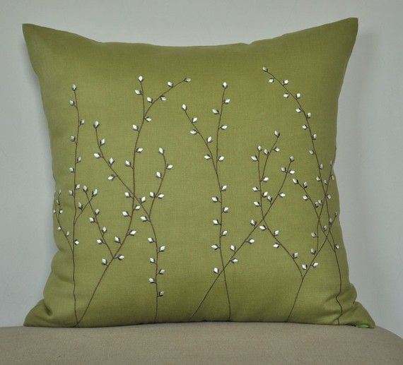 Pussy Willow Throw Pillow Cover, Decorative Pillow Cover 18 x 18, Chartreuse Green Linen Pussy Willow Embroidery, Green Pillow Case, Cushion