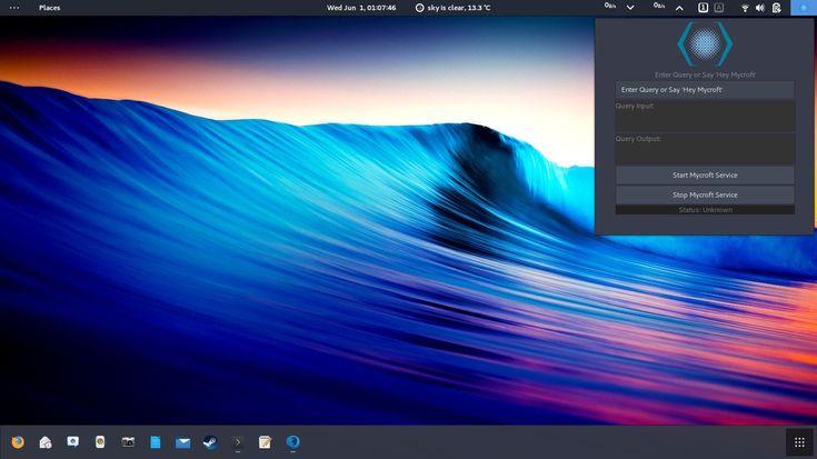 Mycroft AI running on a GNOME desktop