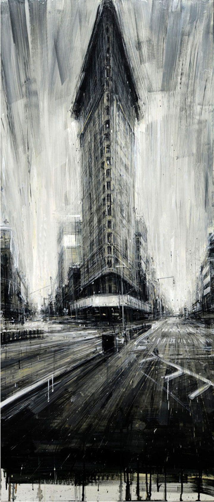Valerio vous fait pénétrer dans sa vision des villes avec ses peintures impressionnantes
