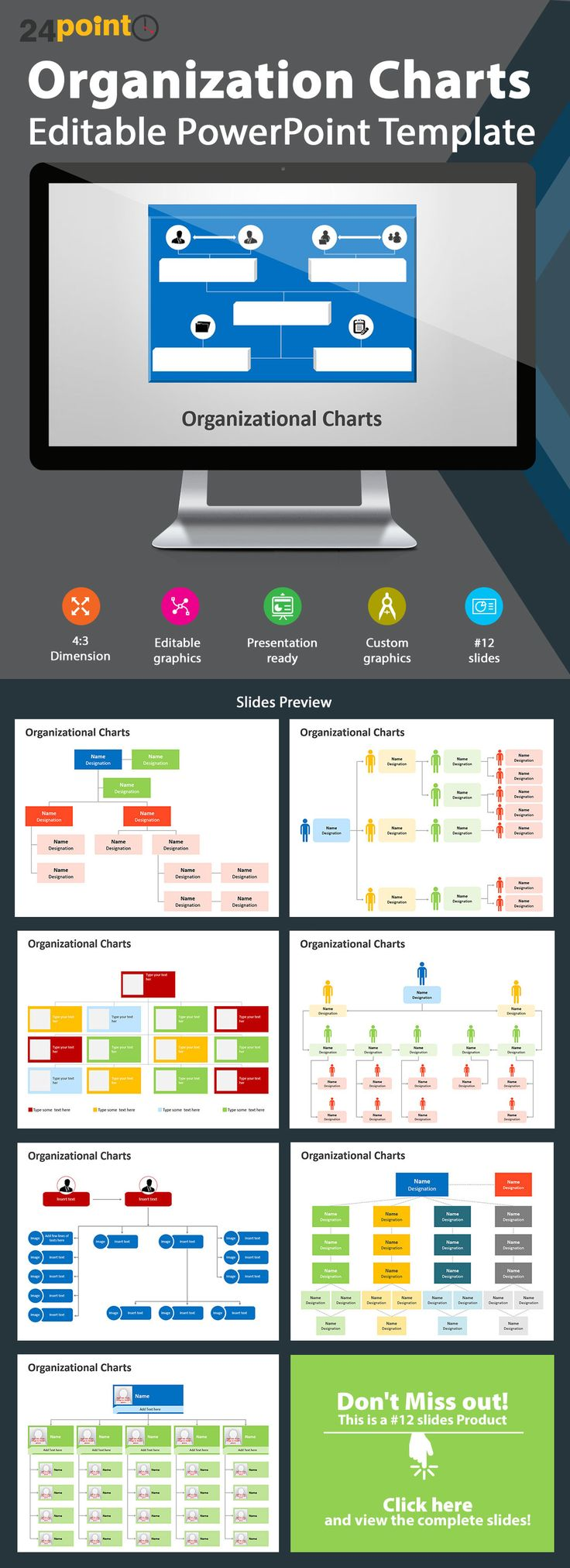 Editable PowerPoint Template: Organization Charts - Integrate this template into all presentations related to corporates, personnel or departments. This chart also represents lines of authority and responsibility. Download now!!